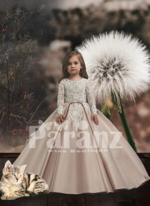 Long trail smooth sleek satin gown with all over flower appliquéd bodice and sleeves