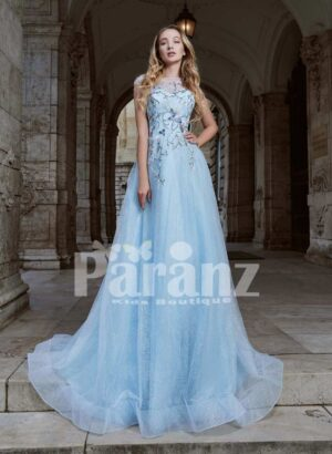 Long trail soft tulle party gown with beautiful threaded embroidery for women