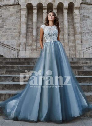 Long trail soft tulle-satin gown with beautiful lace appliquéd bodice