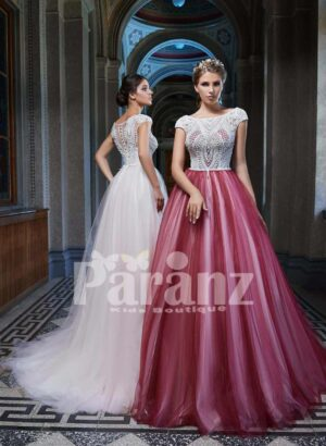 Long trail soft tulle-satin gown with beautiful lace appliquéd bodice side view