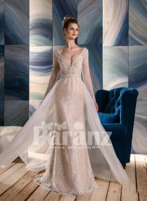 Long trail tulle frill over all appliquéd rich wedding dress