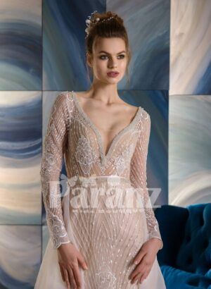 Long trail tulle frill over all appliquéd rich wedding dress close view