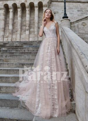 Long trail tulle-ruffle evening party gown with deep v cut back bodice for women