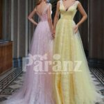 Long trail tulle-ruffle evening party gown with deep v cut back bodice for women side view
