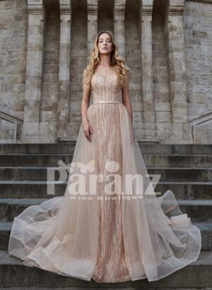 Long trail tulle skirt gown with beautiful bodice for women