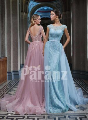 Long trail tulle skirt gown with beautiful bodice for women side view