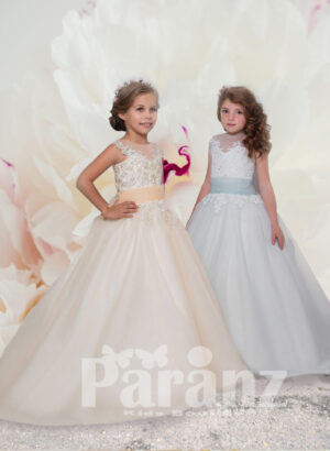 Long trail tulle skirt gown with floral appliquéd bodice