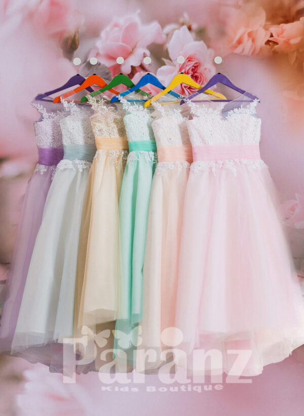 Long trail tulle skirt gown with floral appliquéd bodice for girls