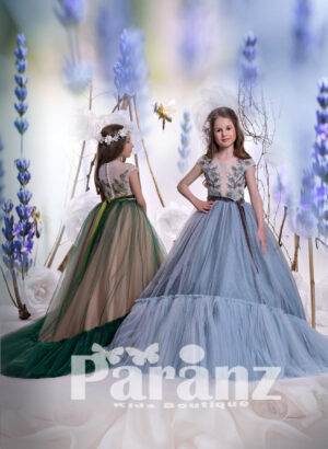 Long trail tulle skirt gown with series pearl back closure and appliquéd bodice side view