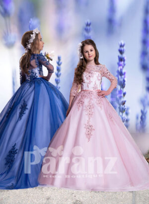 Long trail tulle skirt gown with sheer-satin bodice and major rhinestone and threaded appliqués for girls