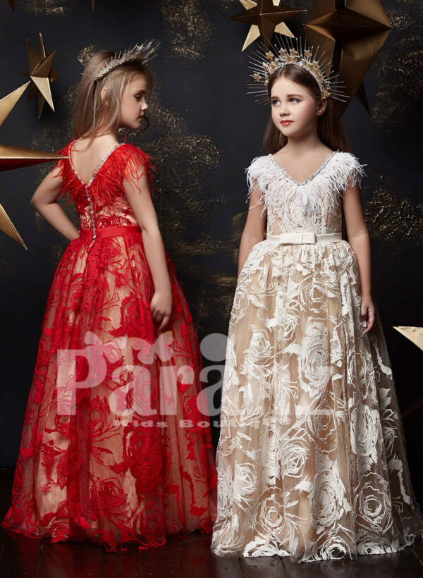 Long tulle skirt dress with appliquéd sheer cover and feather frill bodice red and Ivory