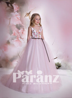 Long tulle skirt gown dress with deep v cut neckline and flower embroidered bodice