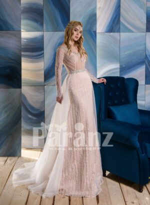 Long tulle trail sequin-rhinestone- pearl studded luxury wedding gown