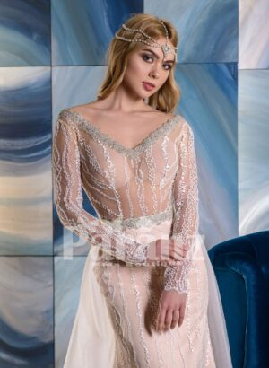 Long tulle trail sequin-rhinestone- pearl studded luxury wedding gown close view