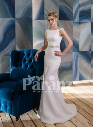 Long wedding satin gown with elegant mid-belt and appliquéd bodice