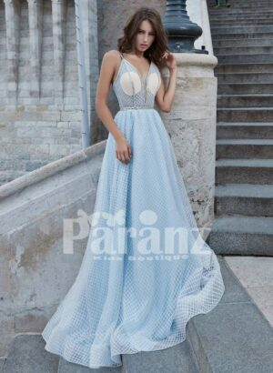 Luxury celebrity styled long trail satin party gown for women
