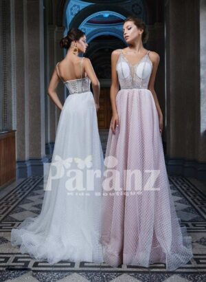 Luxury celebrity styled long trail satin party gown for women side view
