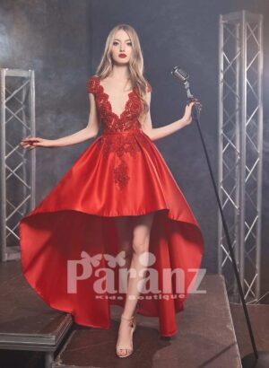 Luxury high low satin party dress with solid lace appliquéd satin-sheer bodice