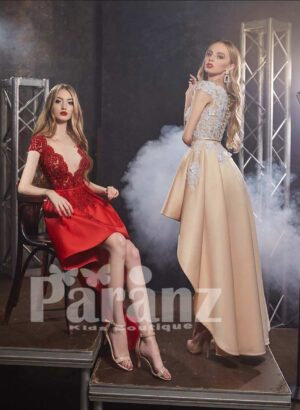 Luxury high low satin party dress with solid lace appliquéd satin-sheer bodice side view