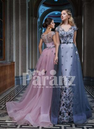 MAJOR APPLIQUÉD WORK LONG TRAIL TULLE-SATIN GOWN FOR WOMEN side view