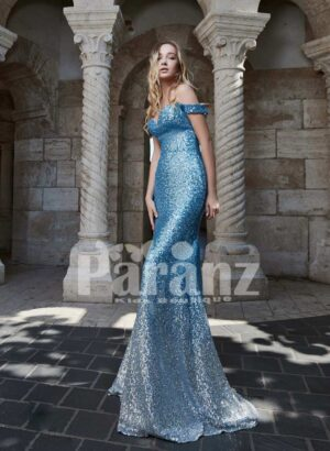 Mermaid styled all over glitz sequin work off-shoulder party gown for women