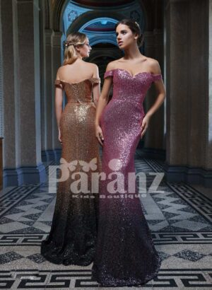 Mermaid styled all over glitz sequin work off-shoulder party gown for women side view