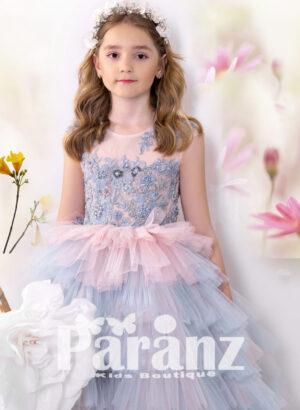 Multi-color soft satin-sheer appliquéd bodice asymmetrical tulle skirt dress