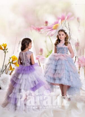 Multi-color soft satin-sheer appliquéd bodice asymmetrical tulle skirt dress back side view