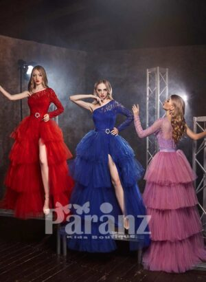 Multi-layer side slit tulle party gown with appliquéd asymmetrical bodice side view