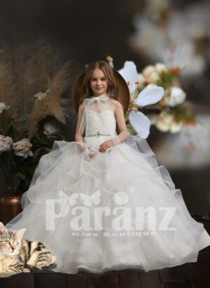 Multi-layer tulle and satin skirt dress with stylish bodice and tulle neck bow