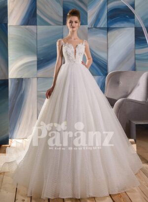 Net woven high volume long tulle skirt gown dress with floral-rhinestone appliquéd bodice
