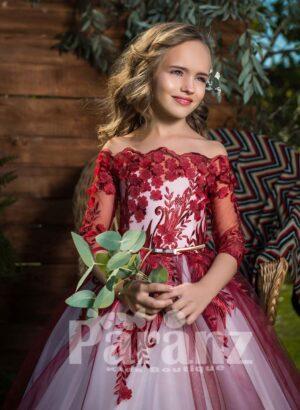 Off-shoulder all over floral appliquéd high volume tulle skirt dress