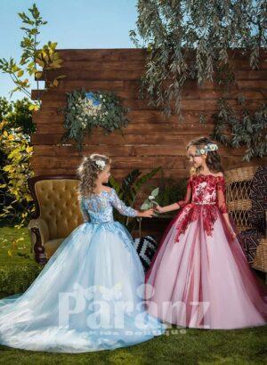 Off-shoulder all over floral appliquéd high volume tulle skirt dress for girls