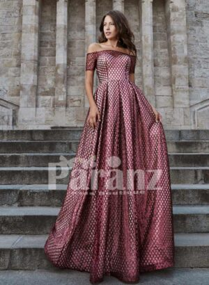Off-shoulder dobby long gown with stylish bodice