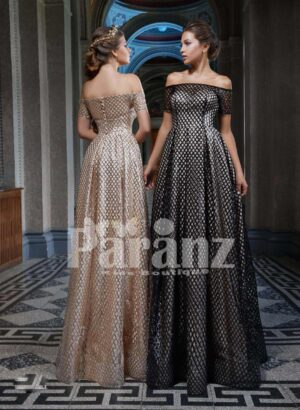 Off-shoulder dobby long gown with stylish bodice side view