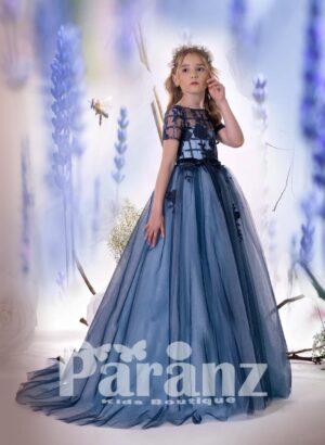 Off-shoulder sheer satin appliquéd bodice with long tulle skirt for girls