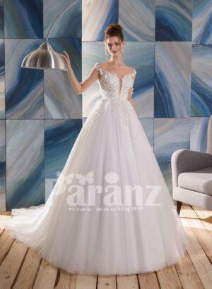 Off-shoulder style satin-sheer-floral appliquéd wedding gown with long high volume tulle skirt