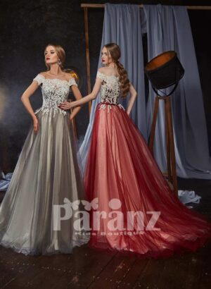 Off-shoulder styled appliquéd bodice tulle skirt gown for women