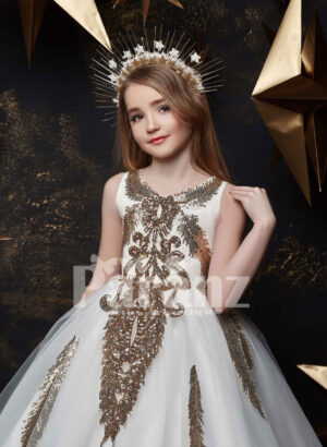 One color long trail tulle skirt gown with major appliqué works in beige