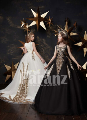 One color long trail tulle skirt gown with major appliqué works in beige White and black