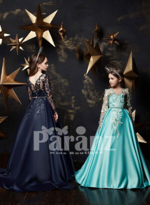 One color rich satin appliquéd gown for little girls