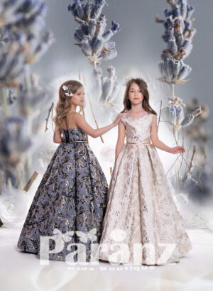 Printed rosette satin gown with tulle underneath skirt