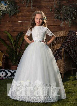 Pure white floral hem soft and smooth tulle skirt dress with appliquéd bodice