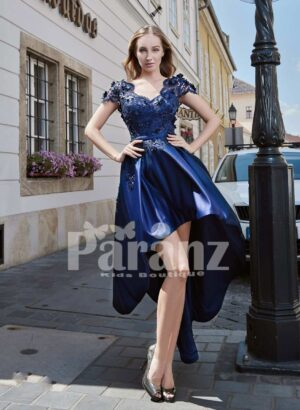 RICH AND SMOOTH HIGH LOW SATIN GOWN WITH ELEGANT FLOWER APPLIQUÉD BODICE