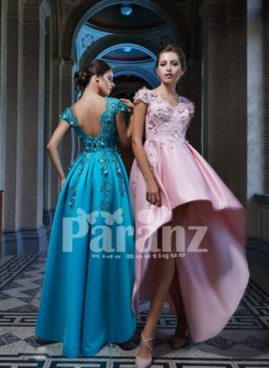 RICH AND SMOOTH HIGH LOW SATIN GOWN WITH ELEGANT FLOWER APPLIQUÉD BODICE SIDE VIEW