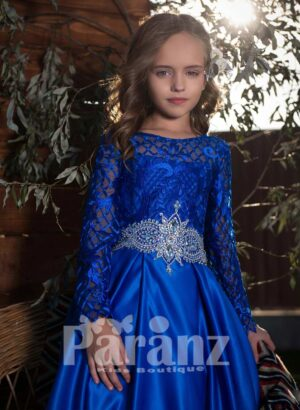 Rich blue soft and smooth satin gown with floral appliquéd bodice and ornament style mid-belt