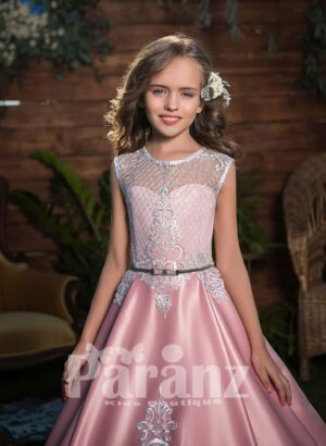 Rich glossy and smooth satin gown with appliquéd bodice and skirt