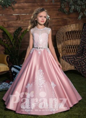 Rich glossy and smooth satin gown with appliquéd bodice and skirt in pink