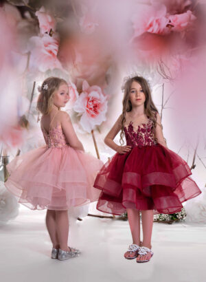 Rich maroon-beige flower tulle skirt Flower girl dress with pearl studded appliquéd bodice without logo