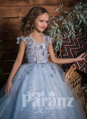 Rich sequin and floral appliquéd party dress with glitz high volume tulle skirt